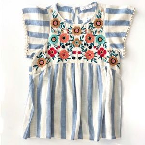 THMl Floral Embroidered Striped Top